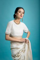 Vaayu - Embroidered Linen Silk Saree in White - sakshamneharicka.com