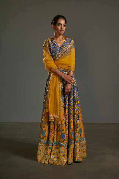Printed and Hand Embroidered Lehenga Set - sakshamneharicka.com