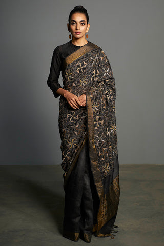 Black Handwoven & Hand Embroidered Tussar Silk Saree - sakshamneharicka.com
