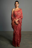 Red Handwoven and Embroidered Tasar Silk Saree - sakshamneharicka.com