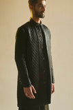 A Quilted Bandhgala Set in Beretta Black Silk Satin Kurta For Men - sakshamneharicka.com