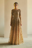 Gold Embroidered Tulle Gown - sakshamneharicka.com