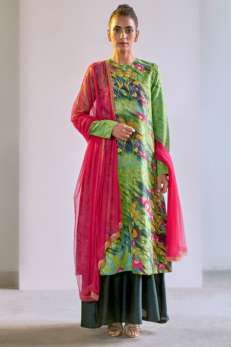 Green Printed & Embroidered Sharara Set in Shimmer Cotton Silk - sakshamneharicka.com