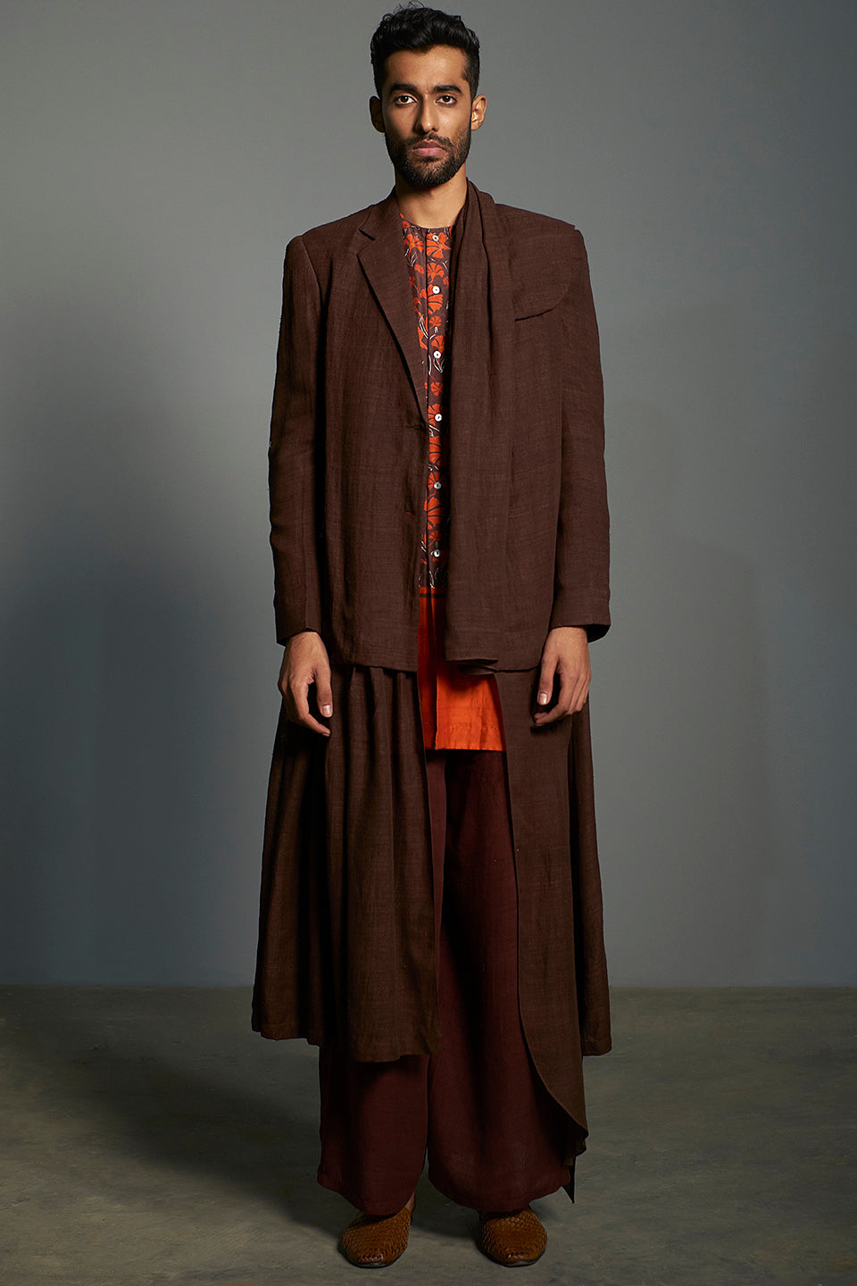 Brown Asymmetric Matka Silk Set - sakshamneharicka.com