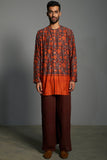 Printed and Embroidered Kurta Shirt For Men in Chanderi - sakshamneharicka.com