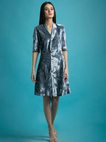 Embroidered Velvet Coat Dress - Megha