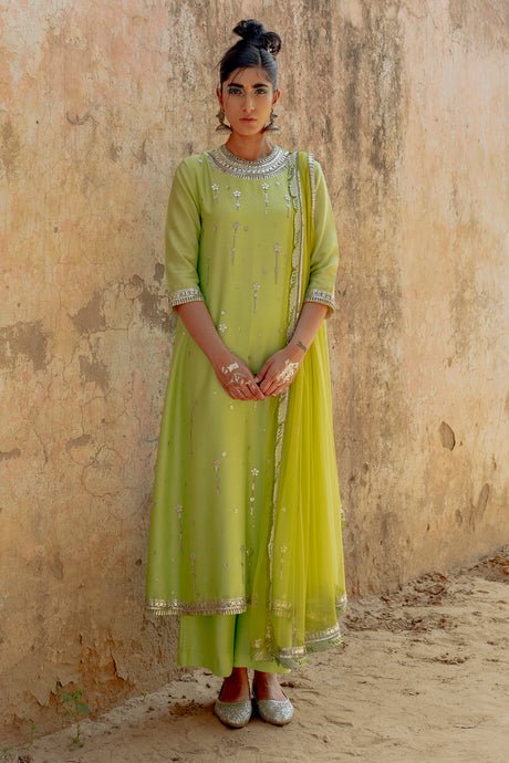 Bright Green Embroidered Kurta Set