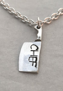 Man's Handstamped Chef Cleaver Knife Pendant Necklace in Sterling Silver