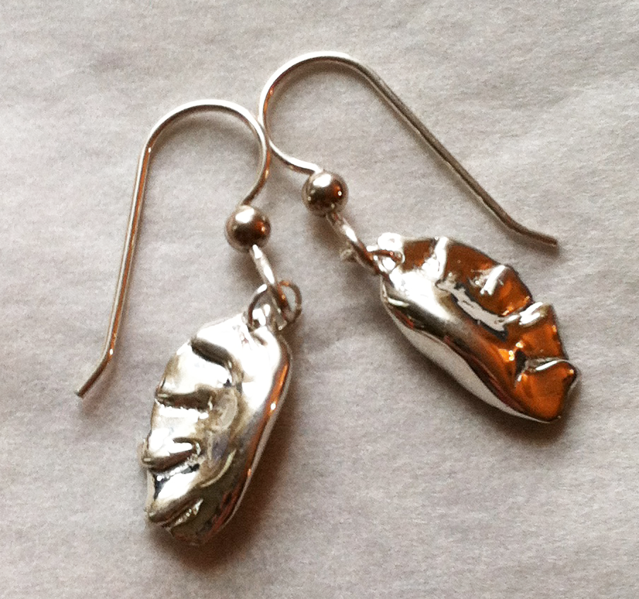 Chinese Potsticker Dumpling Earrings in Sterling Silver
