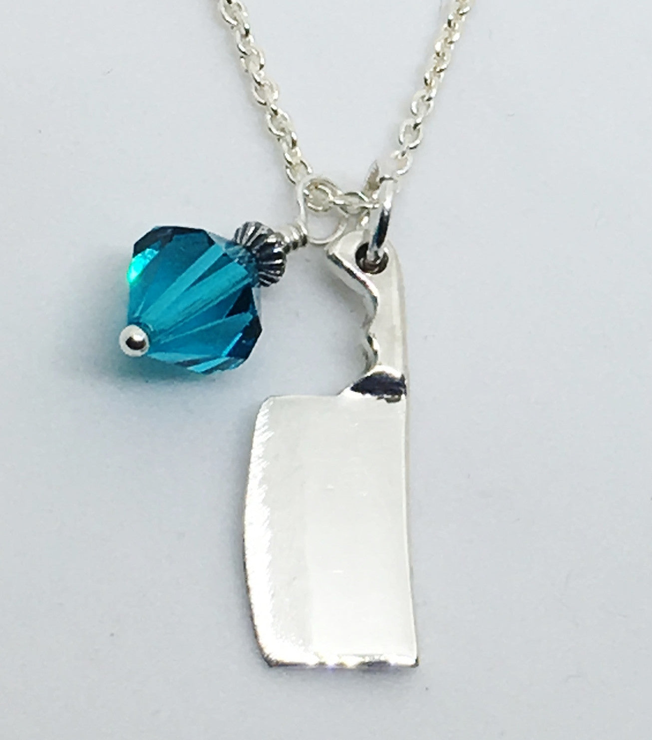 Chef's Cleaver Knife Pendant Necklace with Aqua Blue Swarovski Crystal Charm