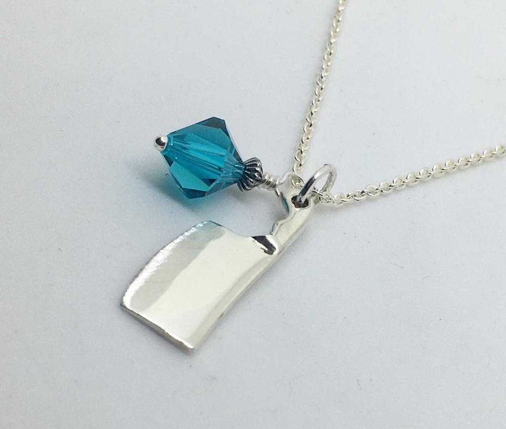 Chefs cleaver knife pendant necklace with aqua blue swarovski chefs cleaver knife pendant necklace with aqua blue swarovski crystal charm aloadofball Image collections