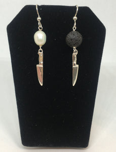asymmetrical black and white pearl and lava chef knife earrings