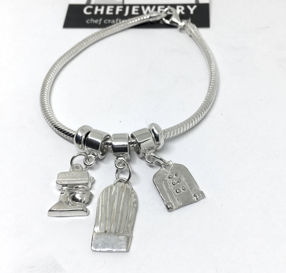 Pastry Chef European Style Charm Bracelet in Sterling Silver