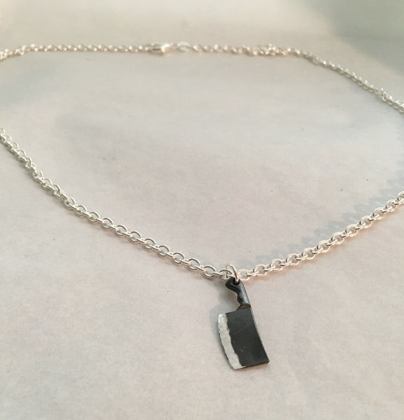 Black Silver Chef Cleaver Pendant Necklace