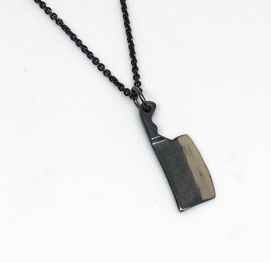 black sterling silver cleaver necklace with black sterling silver chain
