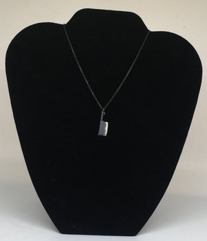 Chef Black Cleaver Knife Pendant Necklace with Black Silver Chain