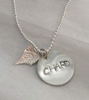 Hand Stamped Chardonnay Wine Lover Necklace in Sterling Silver