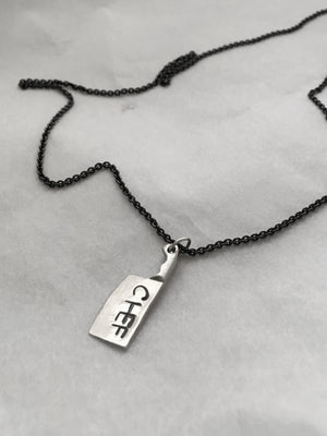 Handstamped Chef Cleaver Knife Pendant Necklace with Black Silver Chain