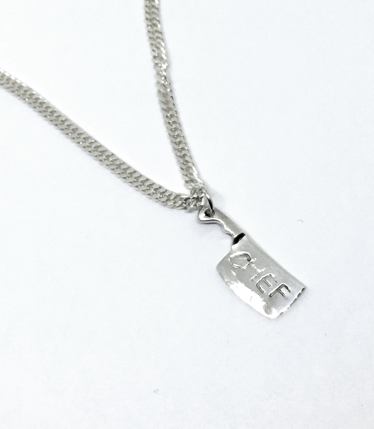 Chef's Handstamped Chef Cleaver Charm Curb Chain Necklace in Sterling Silver