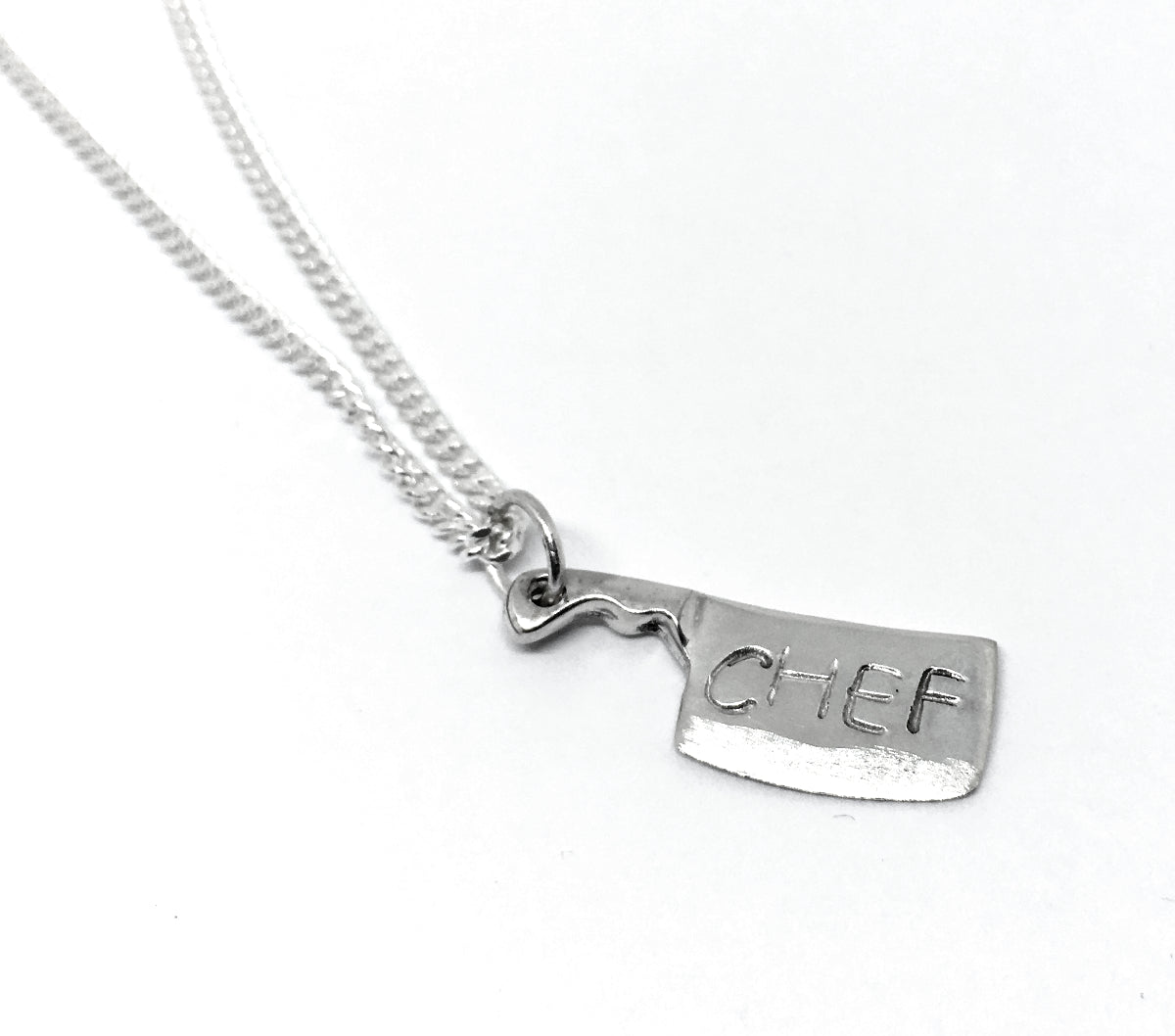 Chef's Handstamped Chef Cleaver Pendant Curb Chain Necklace in Sterling Silver