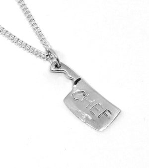 hand stamped chef cleaver necklace
