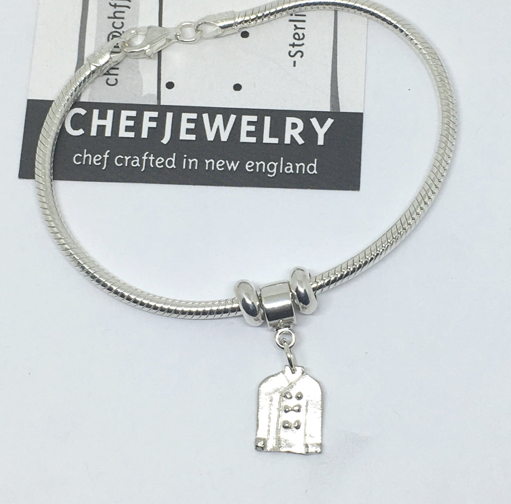 sterling slider bead charm bracelet with chef jacket
