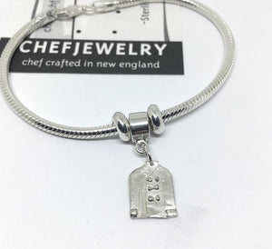 Silver Chef Snake Chain bracelet with chef jacket dangle charm