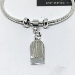 silver chef toque snake chain charm bracelet