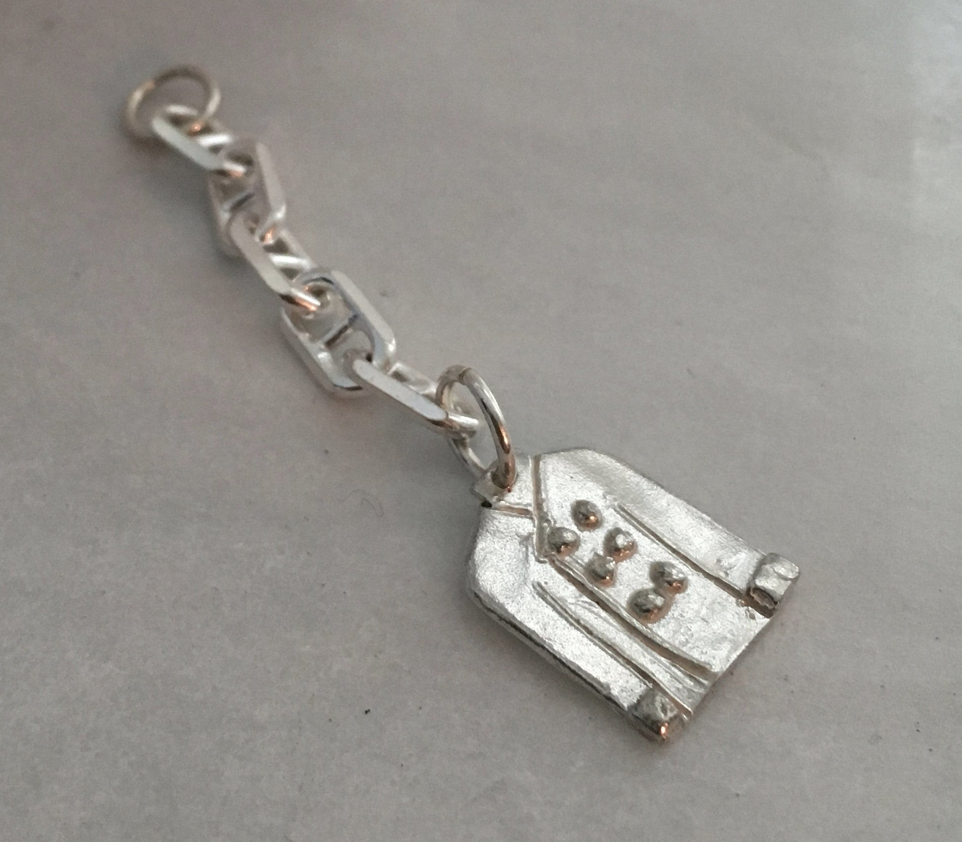 Chef Coat Key Ring Charm in Sterling Silver