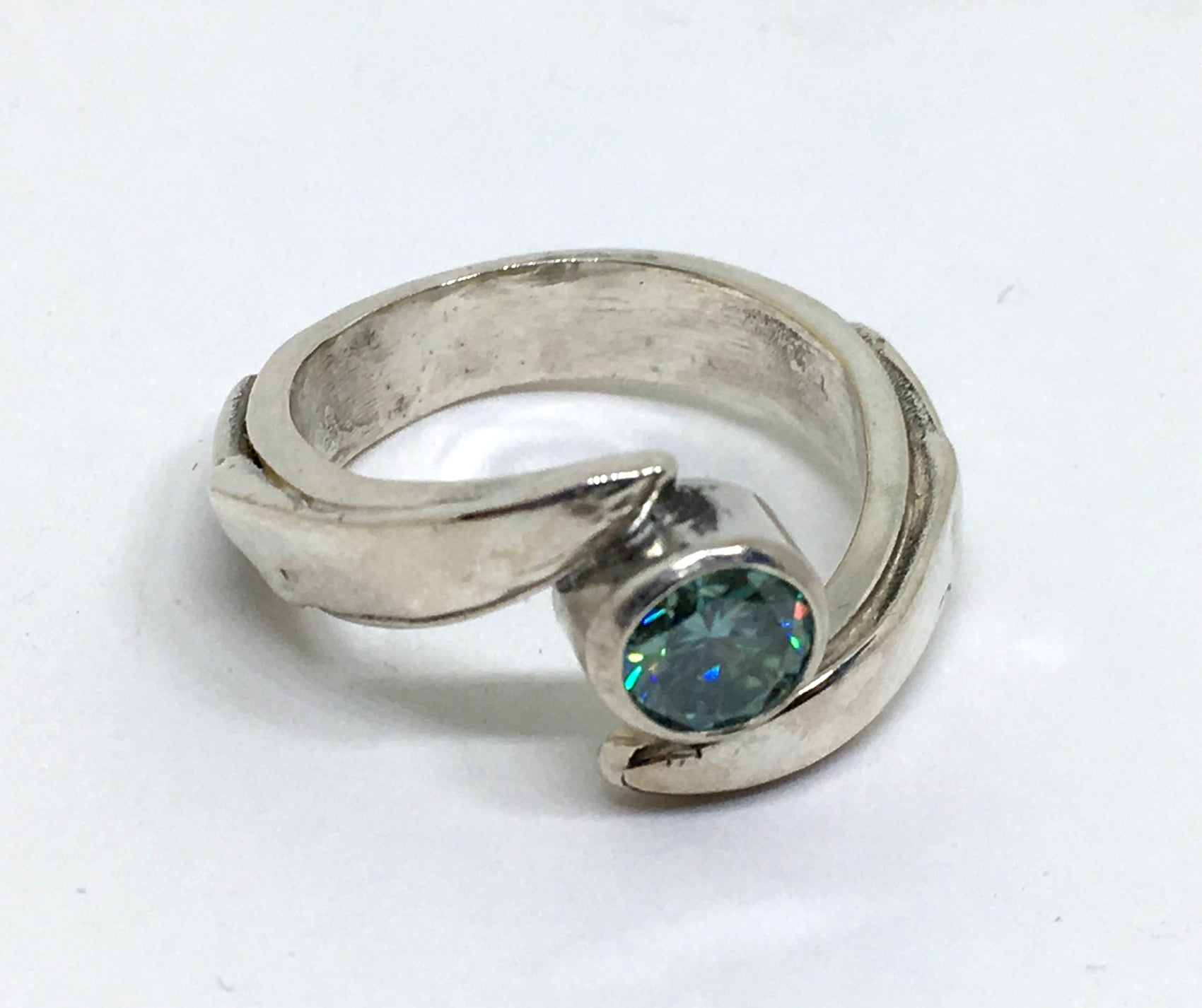 Chef's Engagement Ring with Blue Moissanite in Sterling Silver