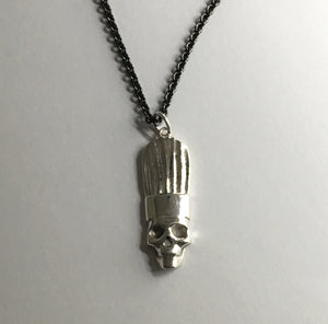 Chef Skull Pendant Necklace in Sterling Silver