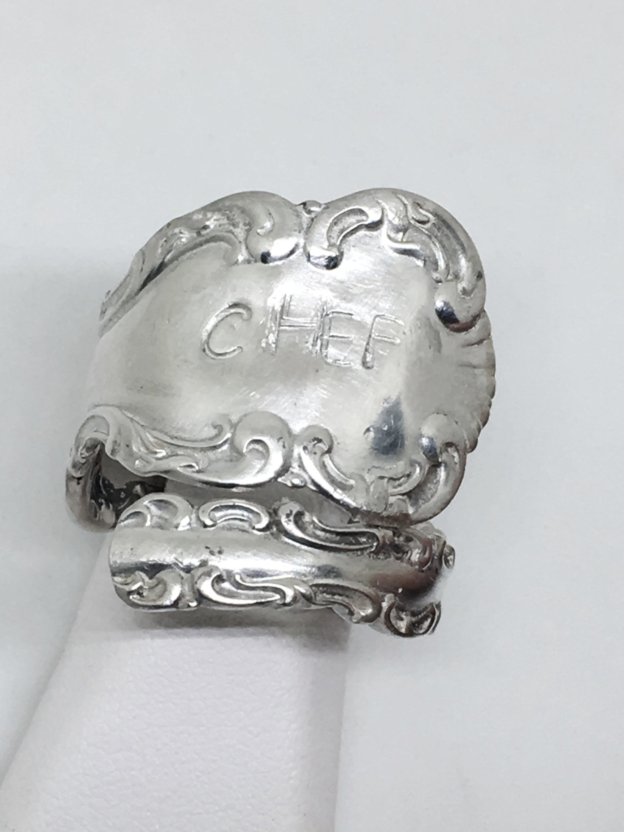 Handstamped Chef Spoon Ring in Sterling Silver
