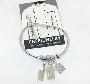 snake chain chef charm bracelet with cleaver, chef hat and chef coat