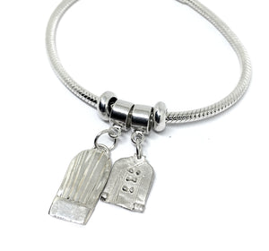 sterling snake chain charm bracelet with chef hat and chef coat