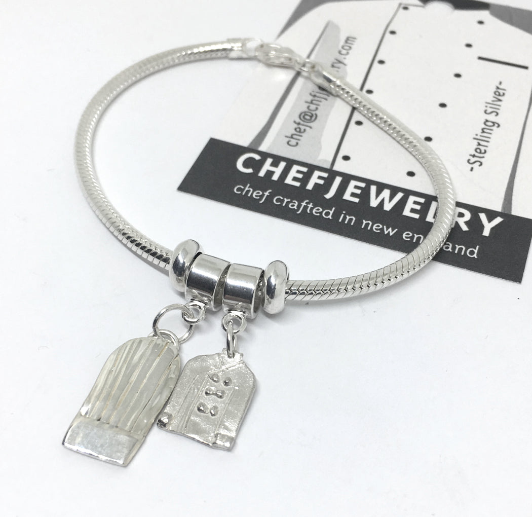 European Style Charm Bracelet with Sterling Silver Chef Charms