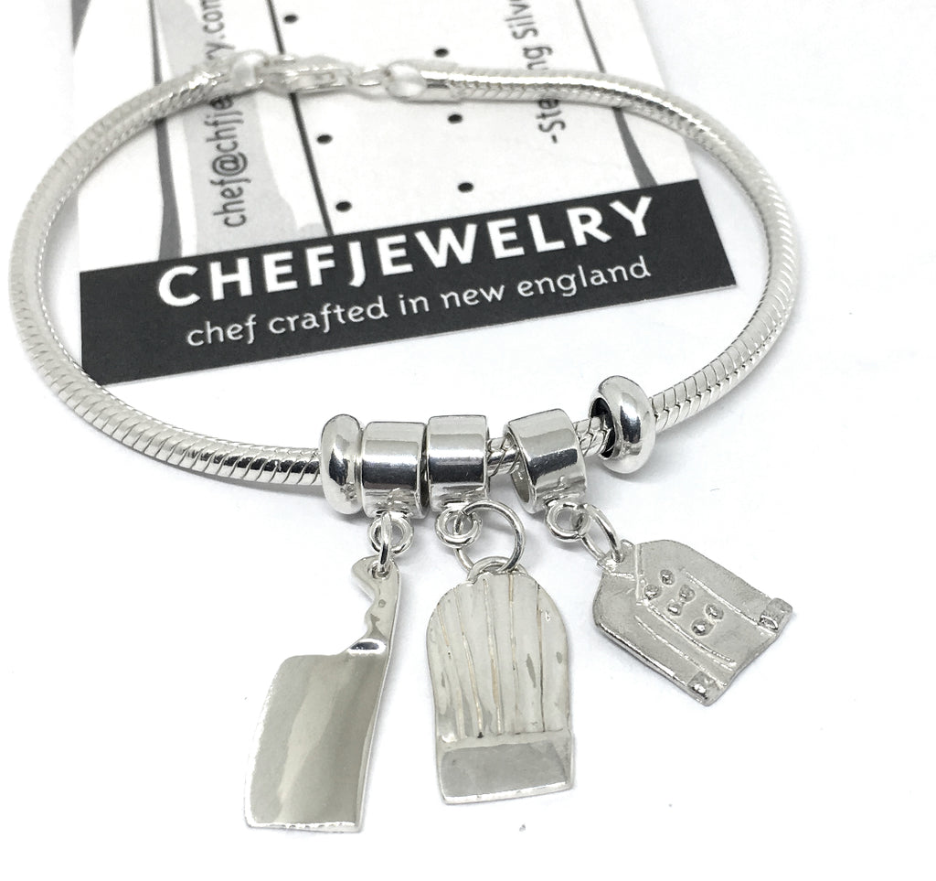 sterling european style chef charm bracelet with slider beads
