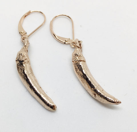 14K Gold Chili Pepper Earrings
