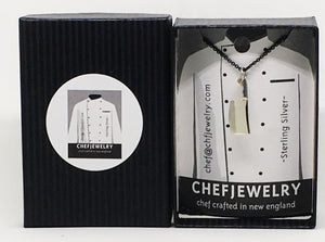 Chef Cleaver Pendant Necklace with Black Silver Chain