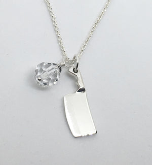 Chef's Cleaver Knife Pendant Necklace with Clear Swarovski Crystal Charm