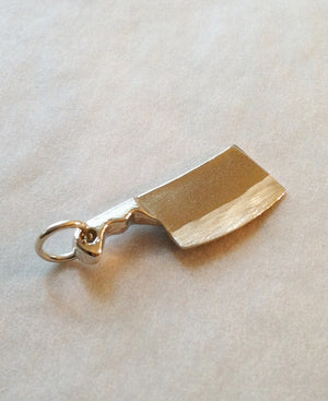 Chef Cleaver Knife Charm in Sterling Silver