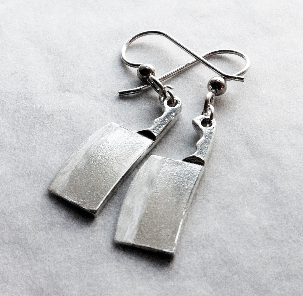 Chef Cleaver Knife Earrings in Sterling Silver