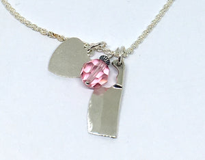 Personalized Chef Cleaver Cluster Necklace with Initials and Pink Swarovski Crystal