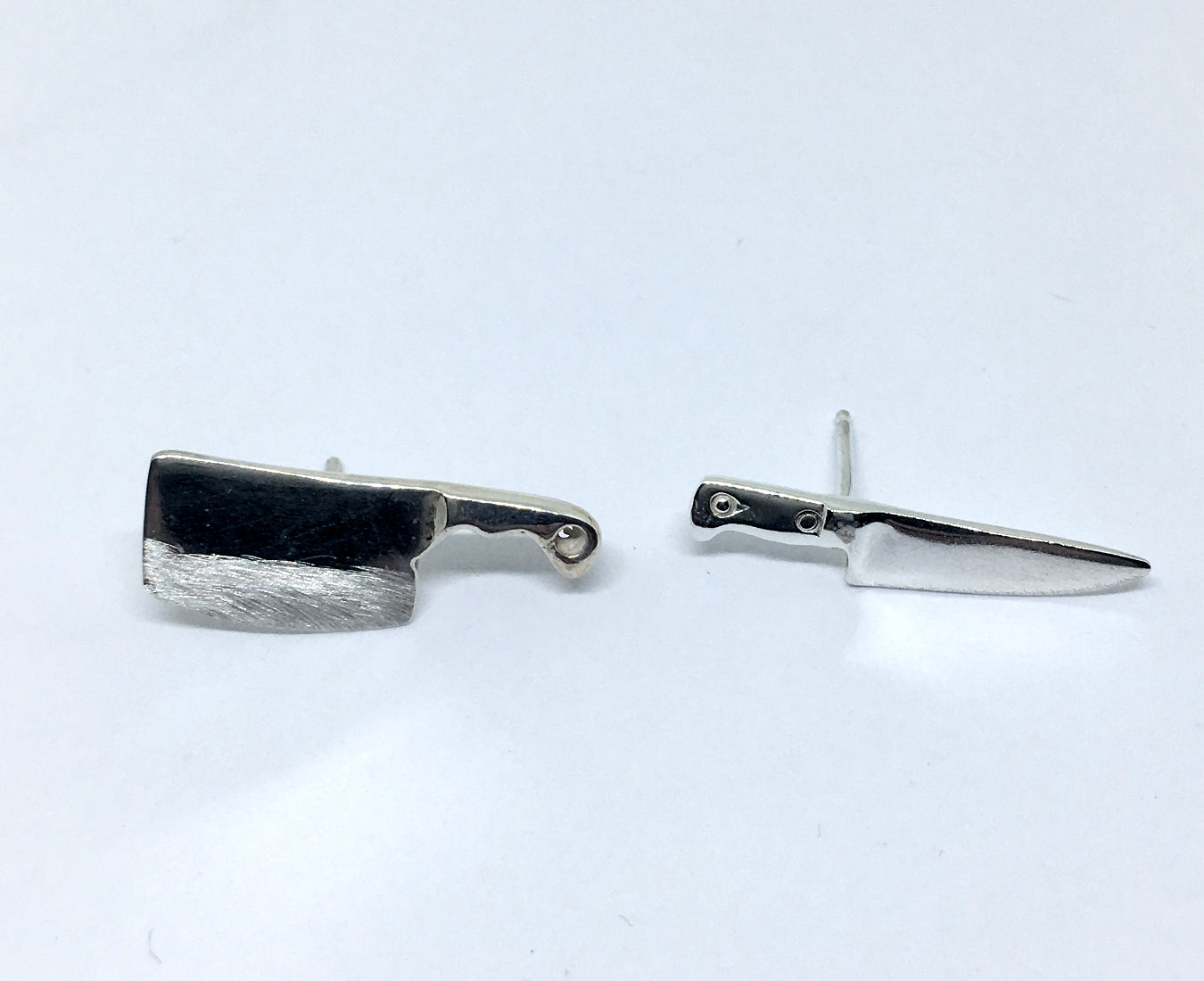 Mismatched Chef Knife Stud Earrings in Sterling Silver