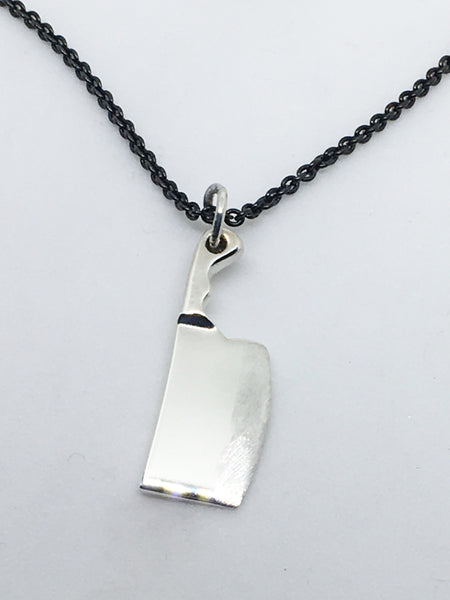 Chef Cleaver Knife Pendant Necklace with Black Silver Chain