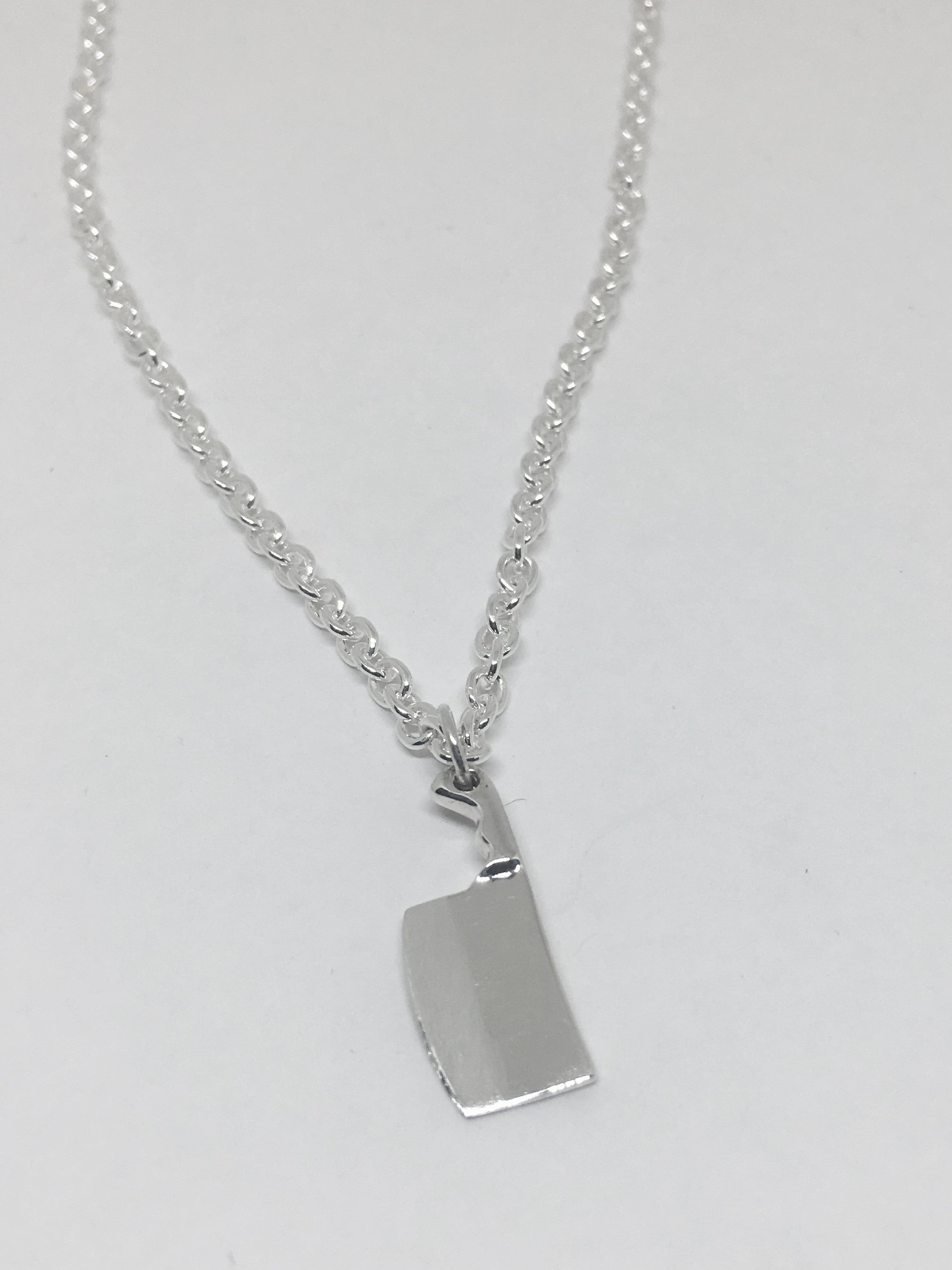 Man's Chef Cleaver Knife Pendant Necklace in Sterling Silver