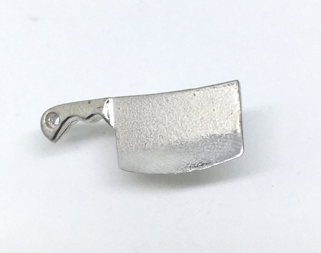 chef cleaver pin in sterling silver