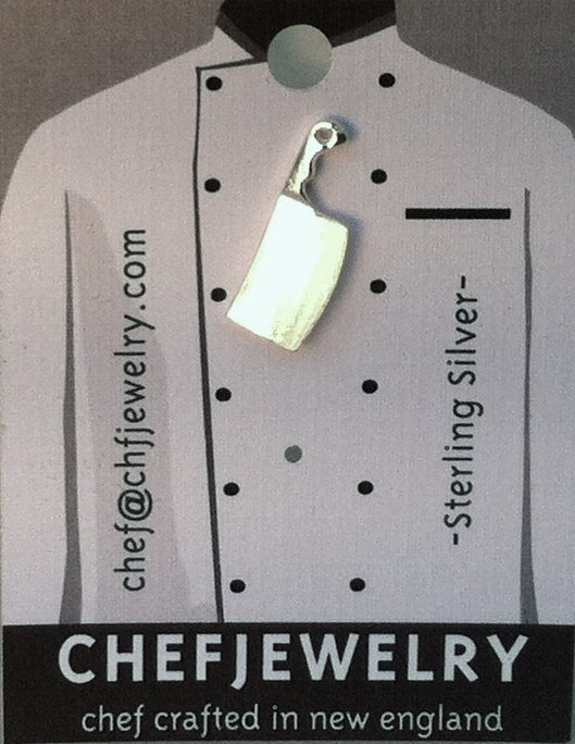 Chef Cleaver Knife Stud Earring in Sterling Silver