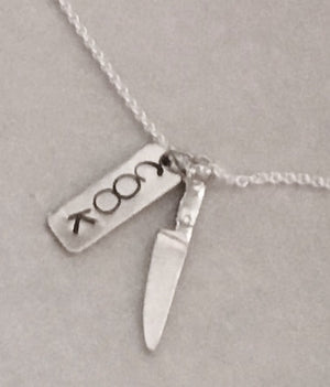 Handstamped Cook Charm and Chef's Knife Pendant Necklace