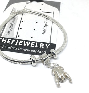 Sterling silver duck dangle charm snake chain bracelet