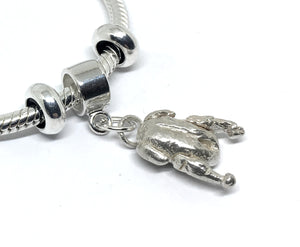 Sterling Silver Duck European Style Charm Bracelet with Snake Chain